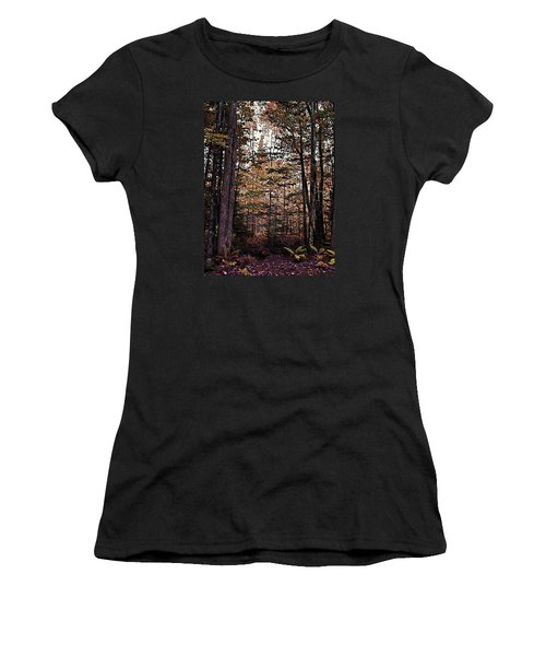 Autumn Color In The Woods Women's T-Shirt (Athletic Fit)