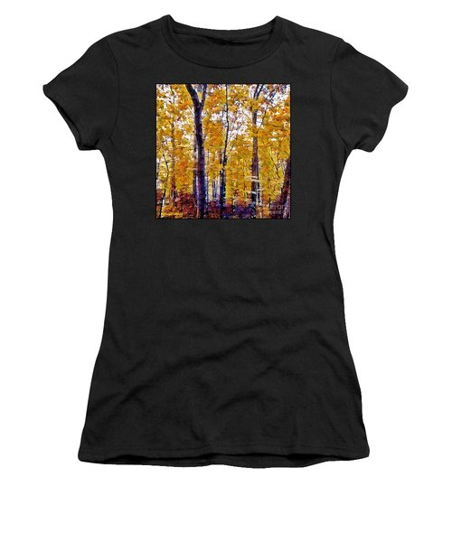 Autumn  Day In The Woods Women's T-Shirt (Junior Cut) by MaryLee Parker