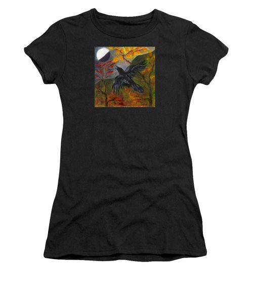 Autumn Moon Raven Women's T-Shirt (Athletic Fit)