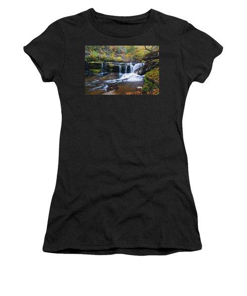 Women's T-Shirt (Junior Cut) featuring the photograph Autumn Waterfall by Steve Stuller