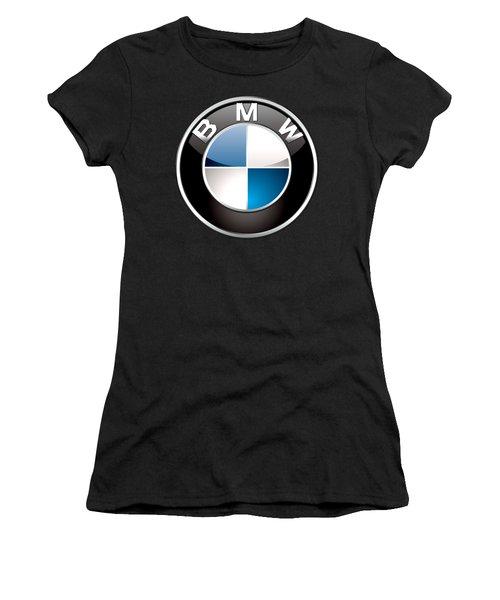 B M W  3 D Badge On Black Women's T-Shirt