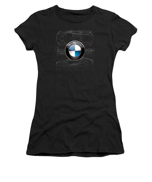 B M W  3 D  Badge Over B M W I8 Silver Blueprint On Black Special Edition Women's T-Shirt (Athletic Fit)