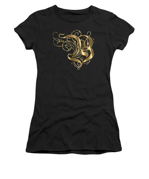 B Ornamental Letter Gold Typography Women's T-Shirt (Junior Cut) by Georgeta Blanaru