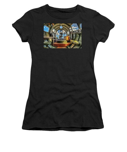 Women's T-Shirt (Athletic Fit) featuring the photograph B17 Nose Section Interior by Gary Slawsky