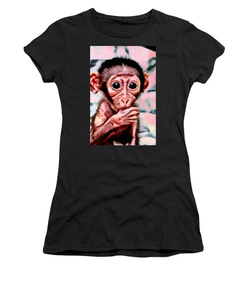 Baby Monkey Realistic Women's T-Shirt (Athletic Fit)