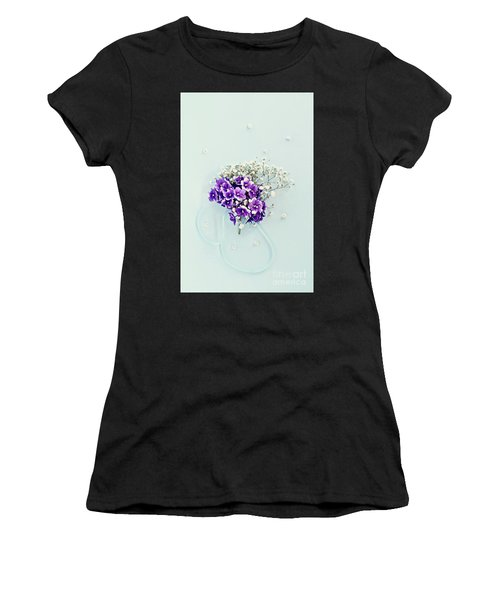 Baby's Breath And Violets Bouquet Women's T-Shirt