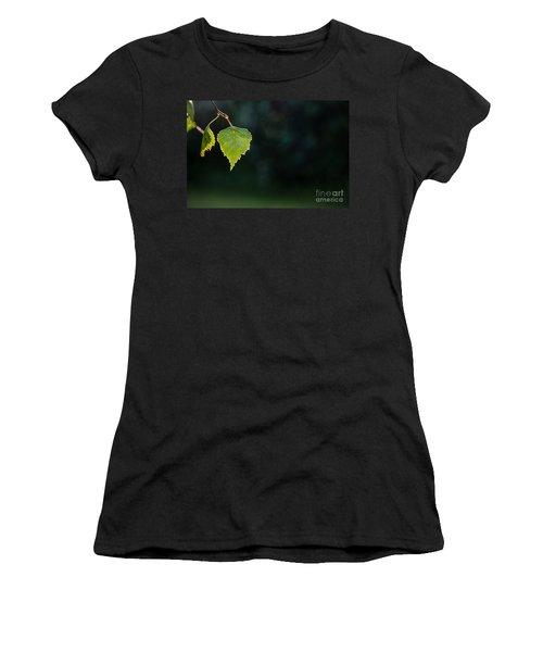 Women's T-Shirt (Junior Cut) featuring the photograph Backlit Shiny Leaf by Kennerth and Birgitta Kullman