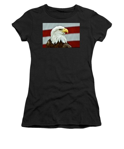Bald Eagle And Old Glory Women's T-Shirt