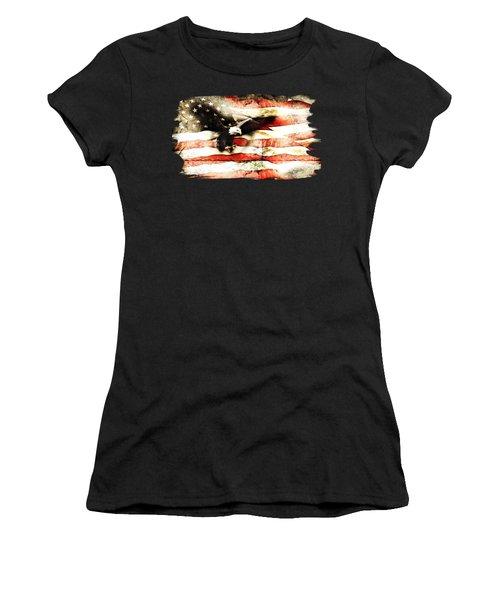 Bald Eagle Bursting Thru Flag Women's T-Shirt (Athletic Fit)