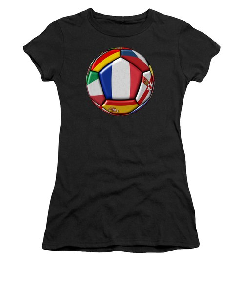 Ball With Flag Of France In The Center Women's T-Shirt (Athletic Fit)