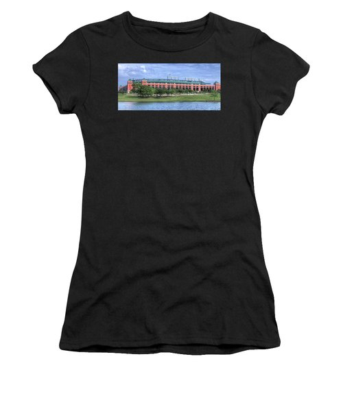 Women's T-Shirt (Athletic Fit) featuring the photograph Ballpark In Arlington Now Globe Life Park by Robert Bellomy