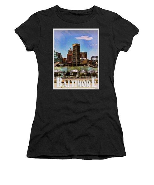 Women's T-Shirt (Junior Cut) featuring the painting Baltimore Skyline by Kai Saarto