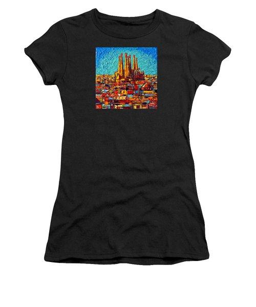 Barcelona Abstract Cityscape - Sagrada Familia Women's T-Shirt