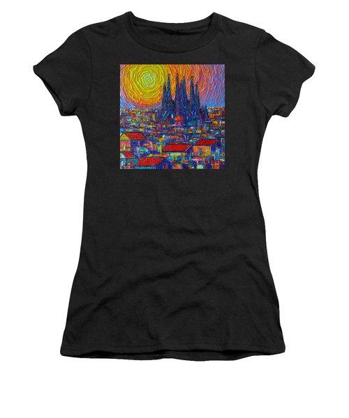 Barcelona Colorful Sunset Over Sagrada Familia Abstract City Knife Oil Painting Ana Maria Edulescu Women's T-Shirt