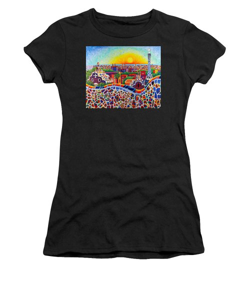 Barcelona Sunrise Colors From Park Guell Modern Impressionism Knife Oil Painting Ana Maria Edulescu Women's T-Shirt