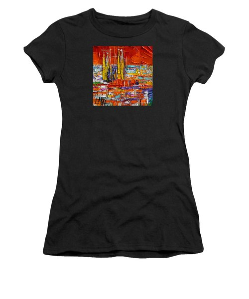 Barcelona Sagrada Familia View From Parc Guell Abstract Palette Knife Oil Painting Women's T-Shirt (Athletic Fit)