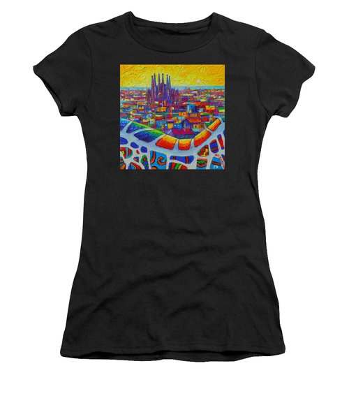 Barcelona View Sagrada From Park Guell Impressionist Abstract City Knife Painting Ana Maria Edulescu Women's T-Shirt