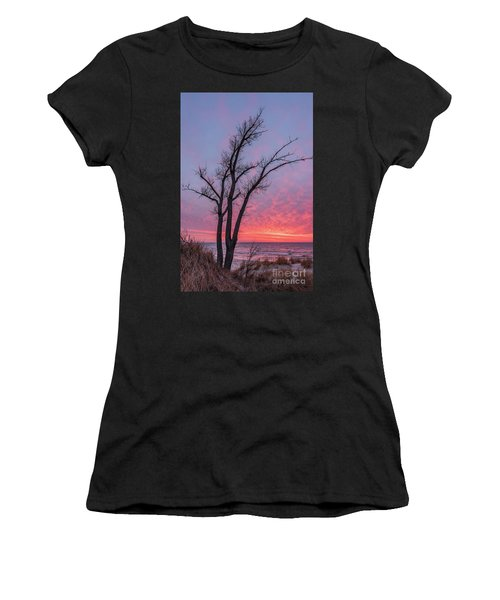 Bare Trees Overlooking A Beautiful Sunset Women's T-Shirt (Athletic Fit)