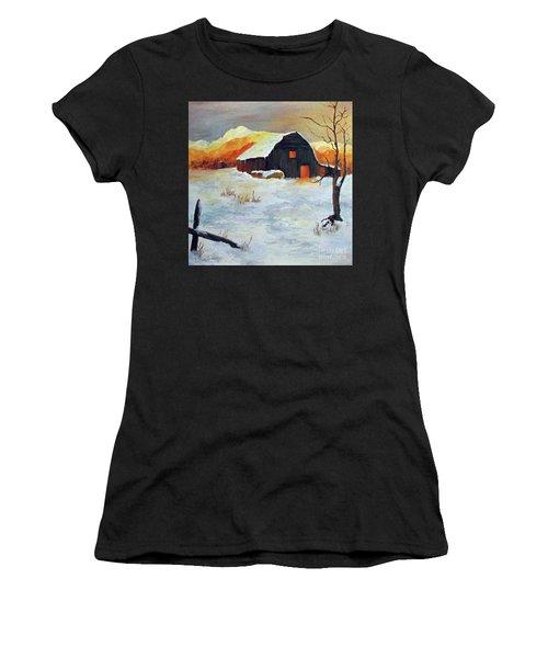 Barn In Winter Women's T-Shirt (Athletic Fit)