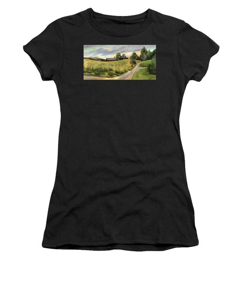 Barn On The Ridge In West Newbury Vermont Women's T-Shirt