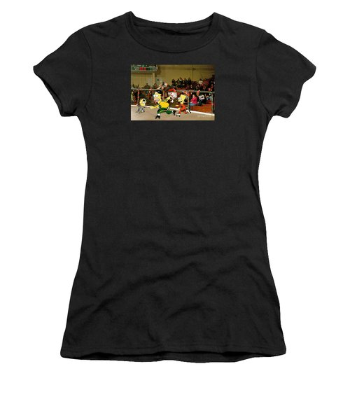 Bart Vs Homer Simpson At The Roller Derby Women's T-Shirt (Athletic Fit)
