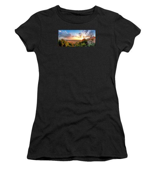 Basilica Of St. Francis Of Assisi At Sunset, Umbria, Italy Women's T-Shirt (Athletic Fit)