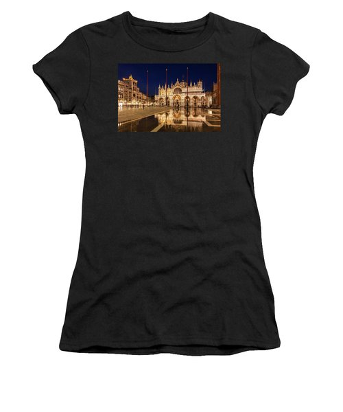 Basilica San Marco Reflections At Night - Venice, Italy Women's T-Shirt (Athletic Fit)