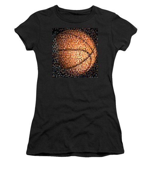 Basketball Mosaic Women's T-Shirt (Junior Cut) by Paul Van Scott