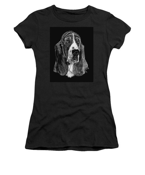 Women's T-Shirt (Junior Cut) featuring the drawing Basset Hound by Rachel Hames