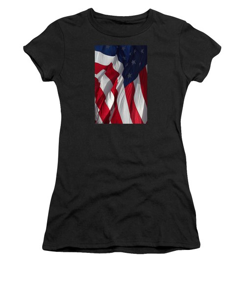 Battle Flag Flies Aboard Uss Cape St. George Women's T-Shirt (Athletic Fit)