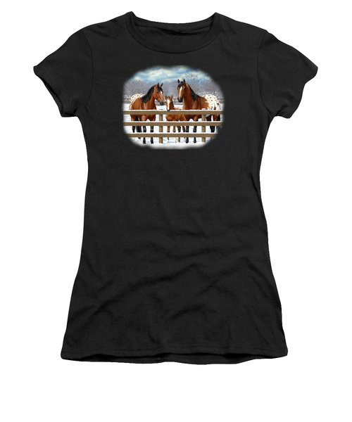 Bay Appaloosa Horses In Snow Women's T-Shirt