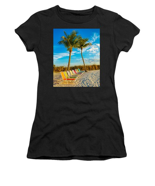 Beach Lounges Under Palms Women's T-Shirt