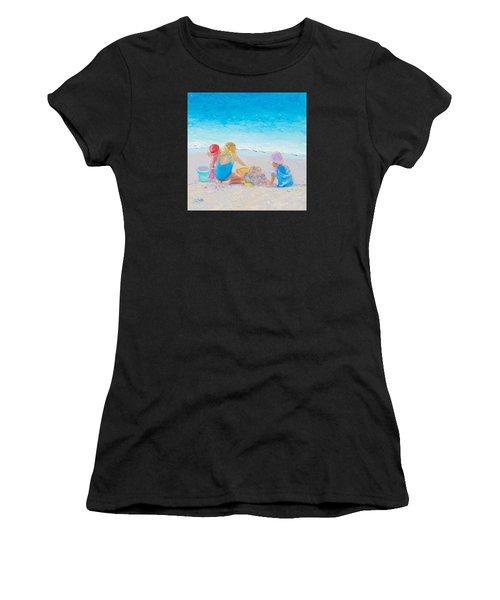 Beach Painting - Building Sandcastles Women's T-Shirt