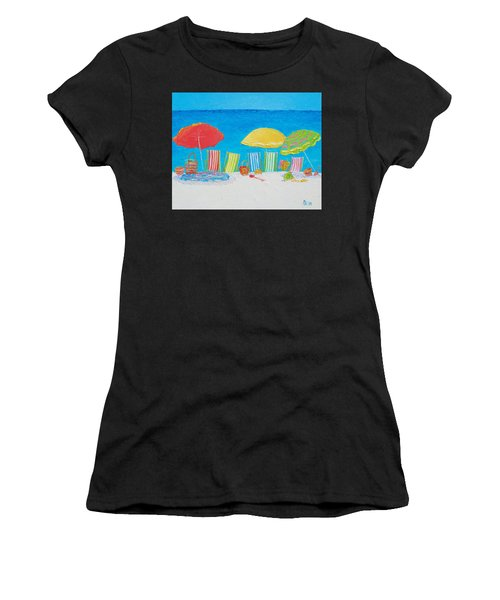 Beach Painting - Deck Chairs Women's T-Shirt