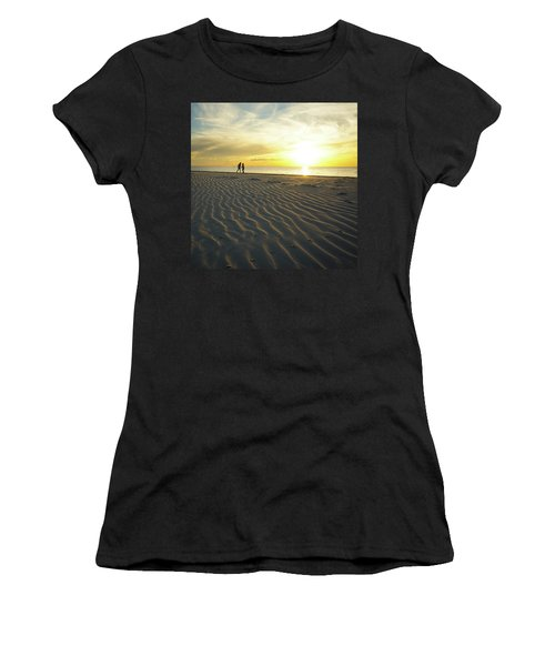 Beach Silhouettes And Sand Ripples At Sunset Women's T-Shirt