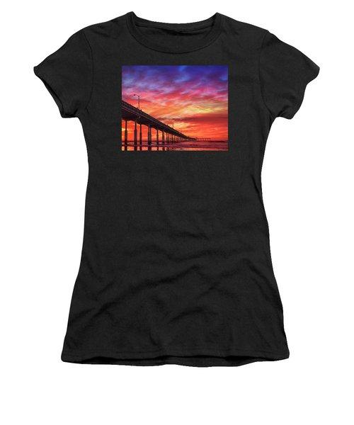 Beach Sunset Ocean Wall Art San Diego Artwork Women's T-Shirt (Athletic Fit)