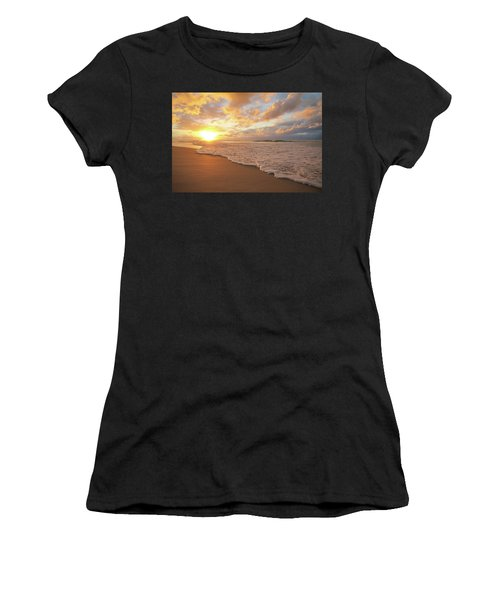 Beach Sunset With Golden Clouds Women's T-Shirt (Athletic Fit)