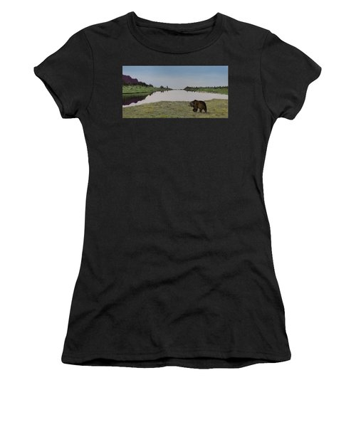 Women's T-Shirt featuring the painting Bear Reflecting by Kevin Daly
