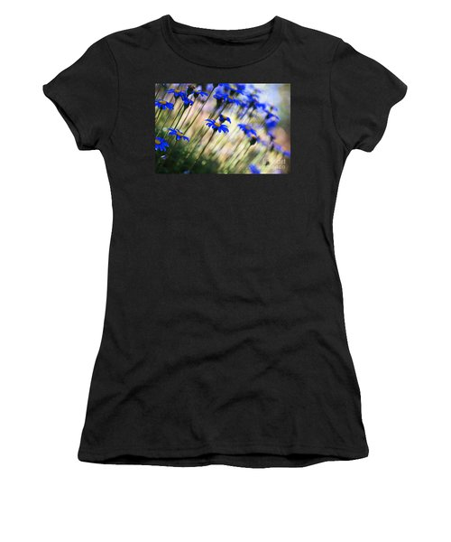 Beautiful Dancing Blue Flowers Romance Women's T-Shirt (Athletic Fit)