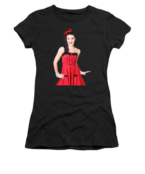 Beautiful Pinup Girl With Pretty Smile Women's T-Shirt