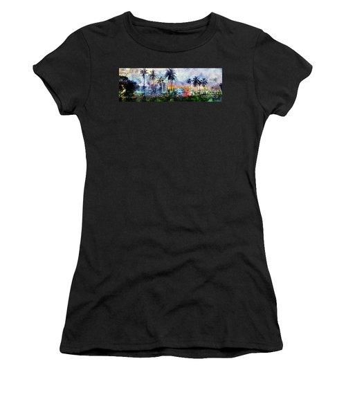Beautiful South Beach Watercolor Women's T-Shirt (Junior Cut) by Jon Neidert