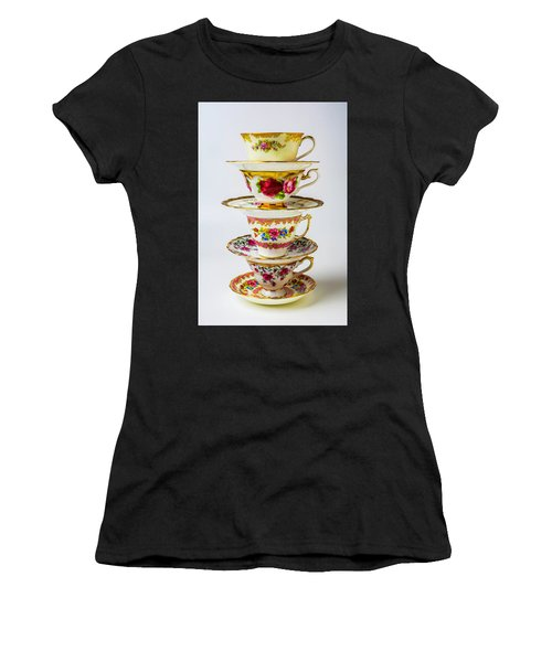 Beautiful Stacked Tea Cups Women's T-Shirt