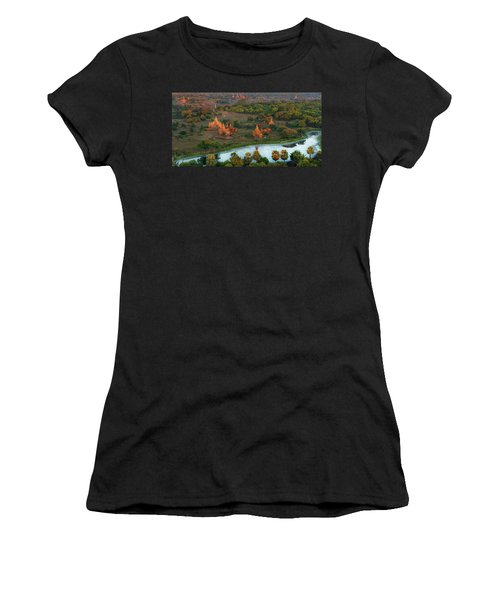 Women's T-Shirt featuring the photograph Beautiful Sunrise In Bagan by Pradeep Raja Prints