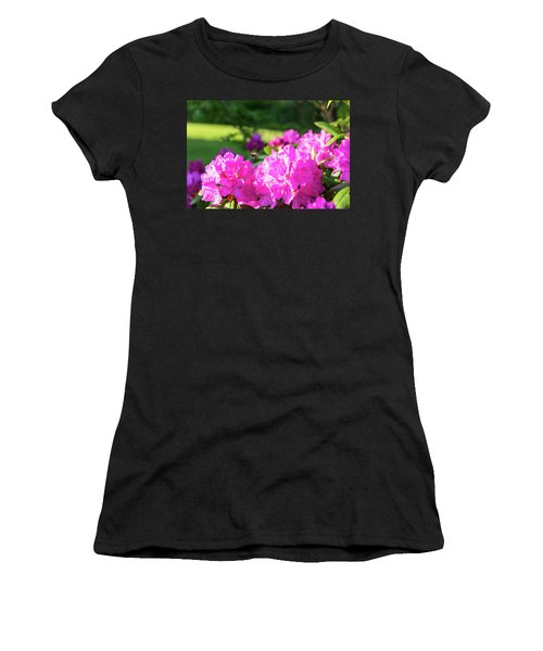 Bee Flying Over Catawba Rhododendron Women's T-Shirt