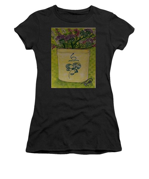 Bee Sting Crock With Good Luck Bow Heather And Thistles Women's T-Shirt (Athletic Fit)