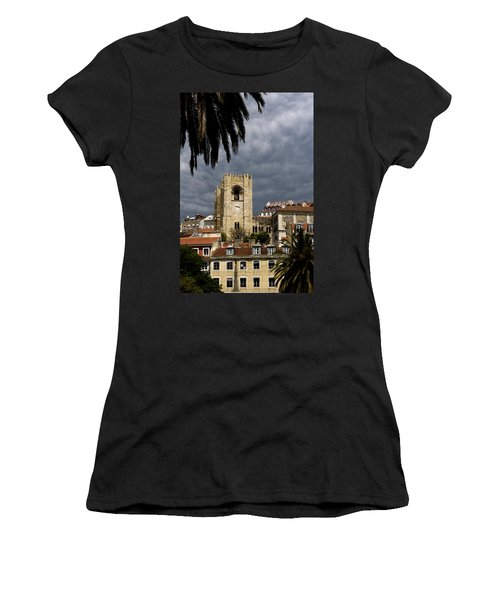 Bell Tower Against Roiling Sky Women's T-Shirt (Athletic Fit)