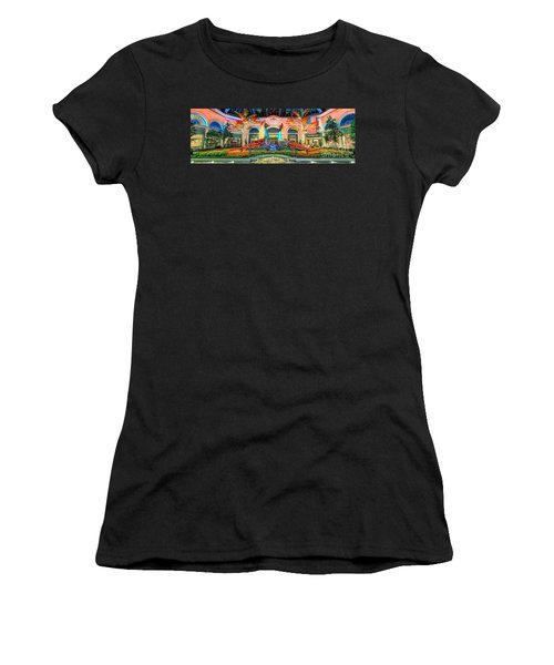 Bellagio Conservatory Fall Peacock Display Panorama 3 To 1 Ratio Women's T-Shirt (Athletic Fit)