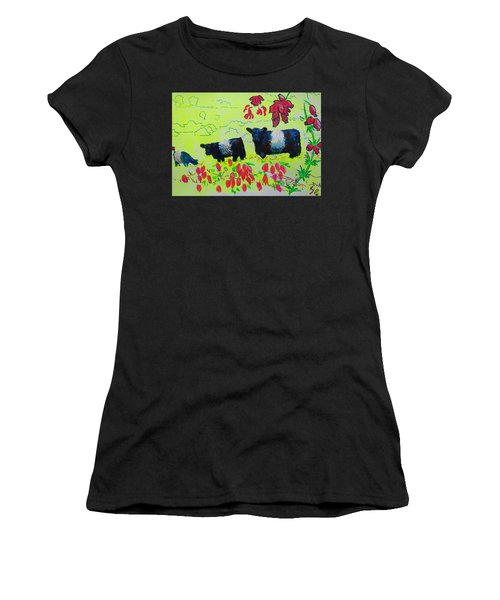 Belted Galloway Cows And Heather Illustration Women's T-Shirt