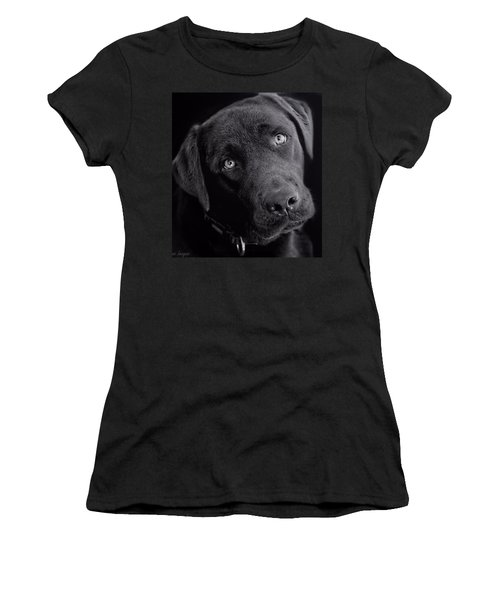 Women's T-Shirt (Athletic Fit) featuring the photograph Benji In Black And White by Wallaroo Images