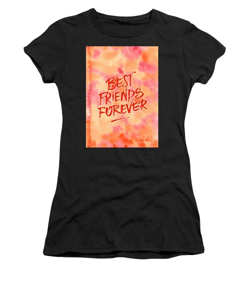 Best Friends Forever Handpainted Abstract Watercolor Pink Orange Women's T-Shirt (Athletic Fit)